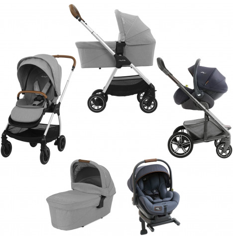 Nuna Triv (I-Level) Travel System, ISOFIX Base & Carrycot - Frost Grey