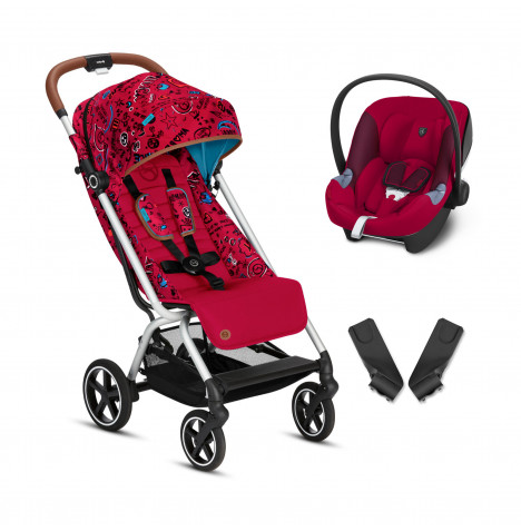 Cybex Eezy S+ Gold Fashion Edition Pushchair Stroller (Aton M) Travel System with Adaptors  - Love Red