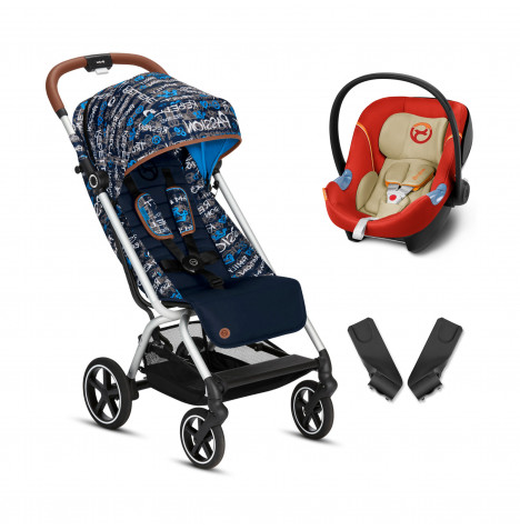 Cybex Eezy S+ Gold Fashion Edition Pushchair Stroller (Aton M) Travel System with Adaptors  - Trust Blue / Autumn Gold