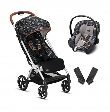 Cybex Eezy S+ Gold Fashion Edition Pushchair Stroller (Aton M) Travel System with Adaptors  - Strength Dark Grey