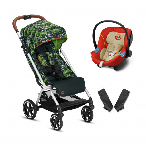 Cybex Eezy S+ Gold Fashion Edition Pushchair Stroller (Aton M) Travel System with Adaptors  - Respect Green / Autumn Gold