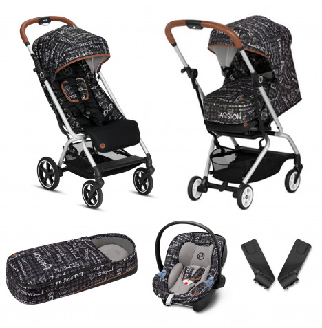 Cybex Eezy S+ Gold Fashion Edition Pushchair Stroller (Aton M) Travel System with Cocoon  - Strength Dark Grey