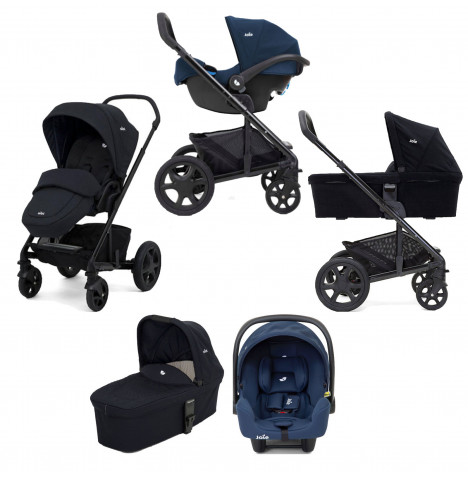 Joie Chrome DLX (i-Snug) Travel System (inc Footmuff) With Carrycot - Navy Blazer