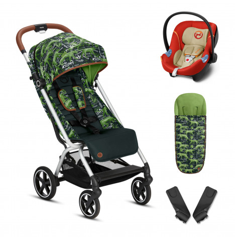 Cybex Eezy S+ Gold Fashion Edition Pushchair Stroller (Aton M) Travel System with Footmuff  - Respect Green / Autumn Gold