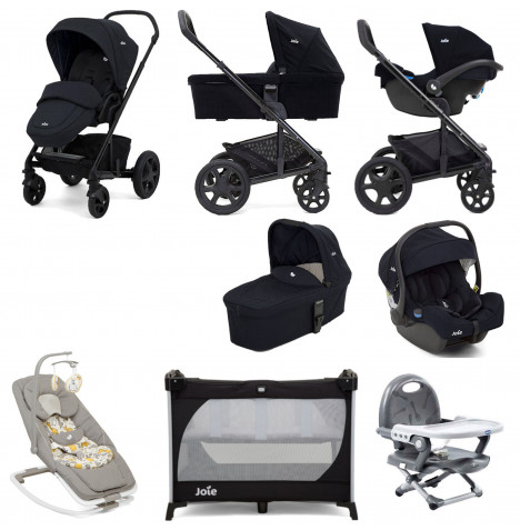 Joie Chrome DLX (i-Gemm) Everything You Need Travel System With Carrycot Bundle - Navy Blazer