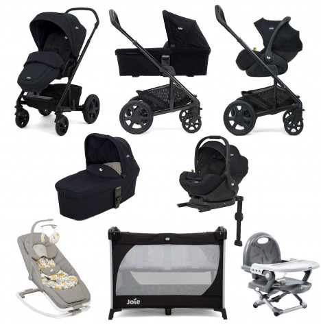 Joie Chrome DLX (i-Level) Everything You Need Travel System With Carrycot and ISOFIX Base Bundle - Navy Blazer / Coal