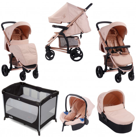 My Babiie MB200+ *Billie Faiers Collection* Travel System, Carrycot & Travel Cot - Rose Gold & Blush