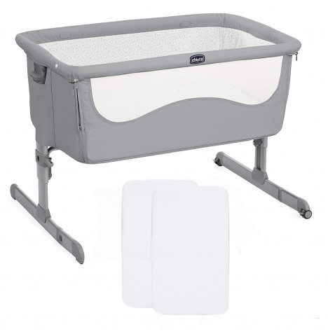 Chicco Next2Me Bedside Crib With 2 Fitted Sheets - Pearl Grey