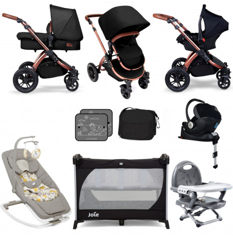 Ickle Bubba / Joie Special Edition Stomp V4 Everything You Need Travel System Bundle (Mercury With Base) - Midnight Bronze