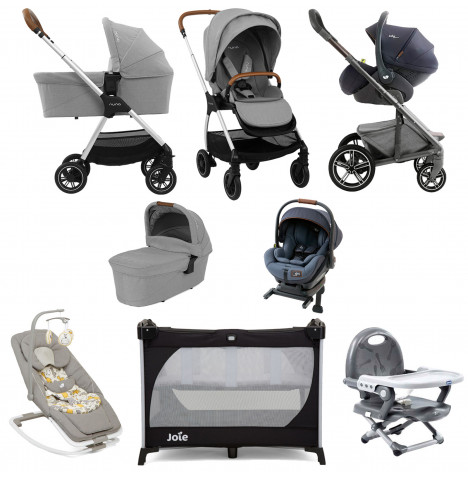 Nuna Triv (i-Level) Everything You Need Travel System Bundle - Frost Grey