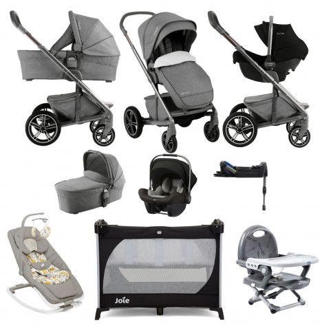 Nuna Mixx (Pipa Lite) Everything You Need Limited Edition Travel System - Threaded Grey / Caviar