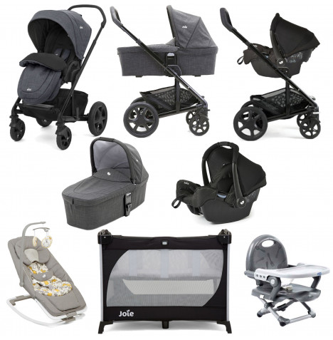 Joie Chrome DLX Gemm Car Seat Everything You Need Travel System With Carrycot Bundle - Pavement / Ember