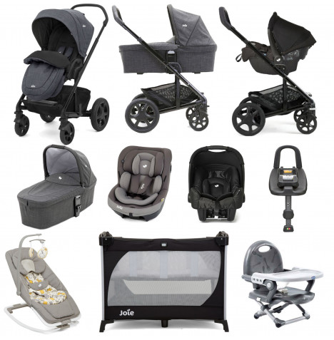 Joie Chrome DLX (i-Venture & Gemm Car Seat) with Carrycot & ISOFIX Base Everything You Need Travel System Bundle - Pavement / Dark Pewter