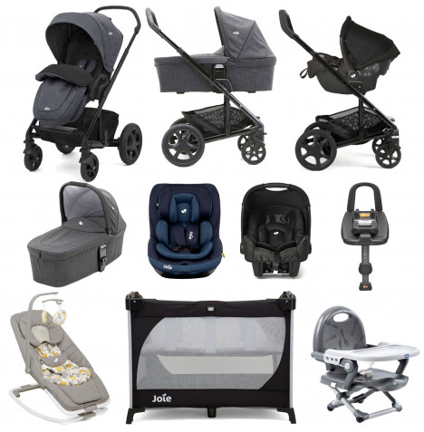 Joie Chrome DLX (i-Venture & Gemm) with Carrycot & ISOFIX Base Everything You Need Travel System Bundle - Pavement / Deep Sea