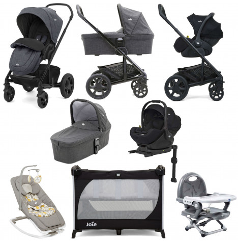 Joie Chrome DLX (i-Level) Everything You Need Travel System With Carrycot and ISOFIX Base Bundle - Pavement / Coal
