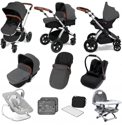 Ickle bubba Stomp V3 Silver All In One (Galaxy Car Seat) Travel System Bundle - Graphite Grey