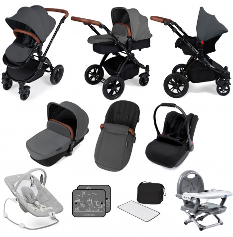 Ickle bubba Stomp V3 Black All In One (Galaxy Car Seat) Travel System Bundle - Graphite Grey