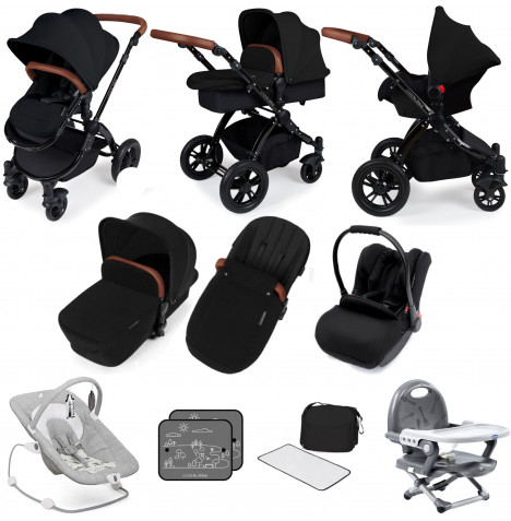 Ickle bubba Stomp V3 Black All In One (Galaxy Car Seat) Travel System Bundle - Black