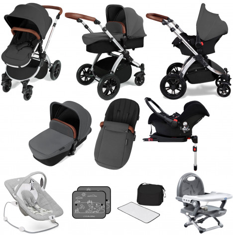 Ickle bubba Stomp V3 Silver All In One (Galaxy Car Seat) Travel System & ISOFIX Base Bundle - Graphite Grey