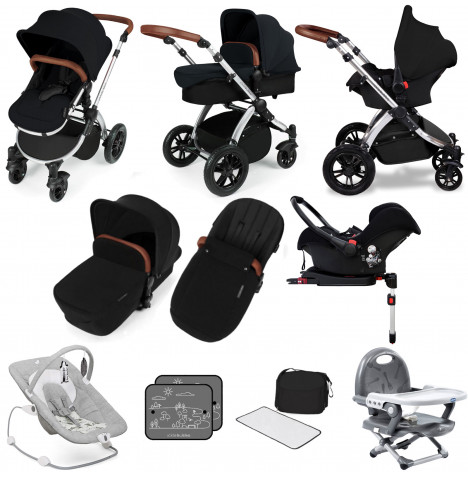 Ickle bubba Stomp V3 Silver All In One (Galaxy Car Seat) Travel System & ISOFIX Base Bundle - Black