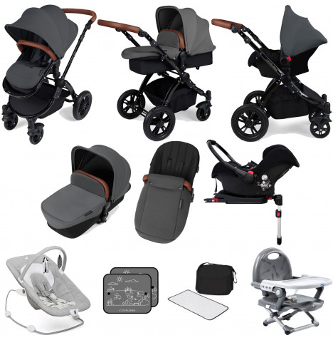 Ickle bubba Stomp V3 Black All In One (Galaxy Car Seat) Travel System & ISOFIX Base Bundle - Graphite Grey