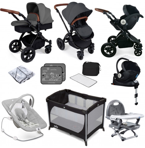 Ickle bubba Stomp V3 All In One i-Size (Mercury Car Seat) Travel System & ISOFIX Base Bundle - Graphite Grey / Black