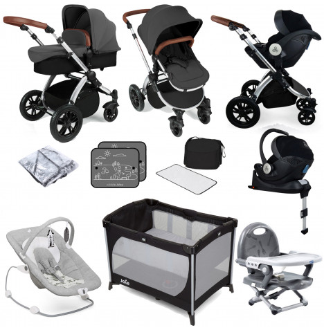 Ickle bubba Stomp V3 All In One i-Size (Mercury Car Seat) Travel System & ISOFIX Base Bundle - Graphite Grey / Silver