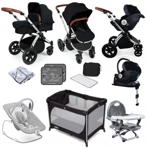 Ickle bubba Stomp V3 All In One i-Size (Mercury Car Seat) Travel System & ISOFIX Base Bundle - Black / Silver