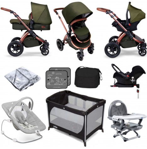 Ickle BubbaSpecial Edition Stomp V4 (Galaxy Car Seat) Everything You Need Travel System Bundle (With Base) - Woodland