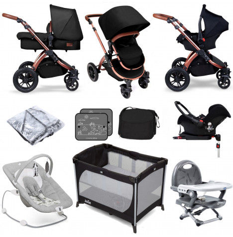 Ickle BubbaSpecial Edition Stomp V4 (Galaxy Car Seat) Everything You Need Travel System Bundle (With Base) - Midnight Bronze