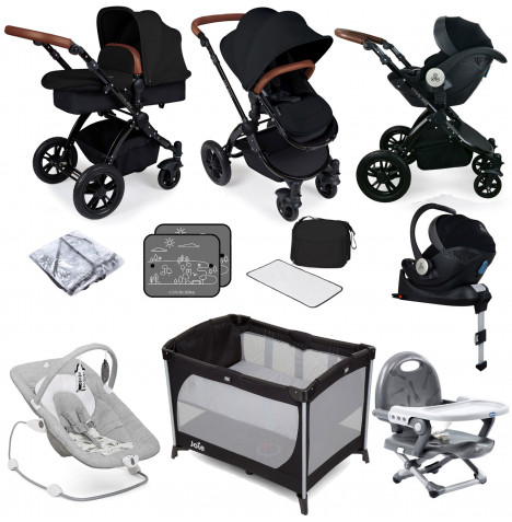Ickle bubba Stomp V3 All In One i-Size (Mercury Car Seat) Travel System & ISOFIX Base Bundle - Black / Black