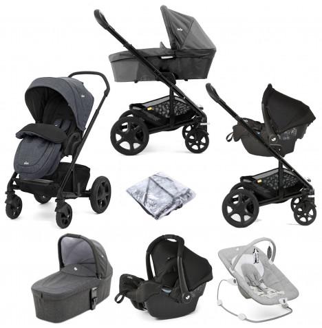 Joie Chrome DLX Travel System with Gemm Car Seat, Carrycot, Footmuff & Wish Bouncer Bundle - Pavement