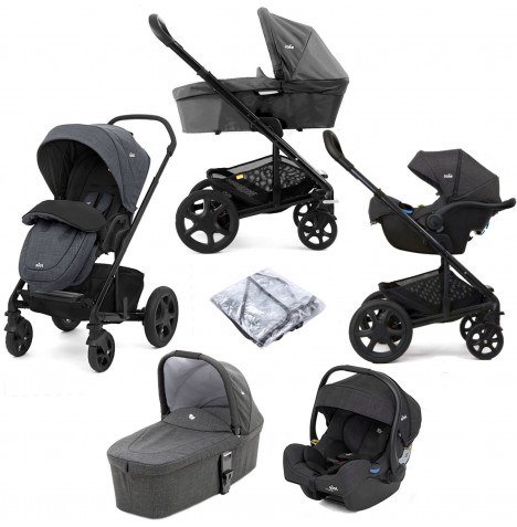 Joie Chrome DLX (i-Gemm 2 Car Seat) Travel System & Carrycot (inc Footmuff) - Pavement