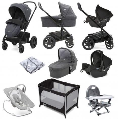Joie Chrome DLX (Gemm) Everything You Need Travel System With Carrycot Bundle - Pavement / Ember