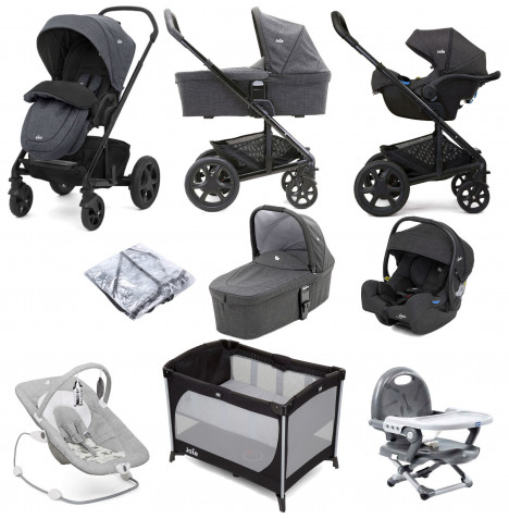 Joie Chrome DLX (i-Gemm 2 Car Seat) Everything You Need Travel System With Carrycot Bundle - Pavement