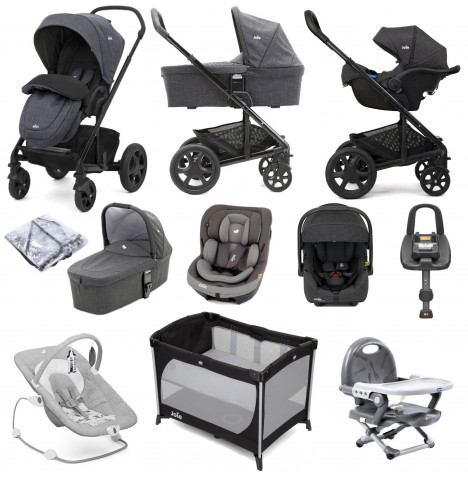Joie Chrome DLX (i-Venture & i-Gemm 2 Car Seat) with Carrycot & ISOFIX Base Everything You Need Travel System Bundle - Pavement