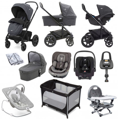 Joie Chrome DLX (i-Snug & i-Venture Car Seat) Everything You Need Travel System With Carrycot and ISOFIX Base Bundle - Pavement / Coal