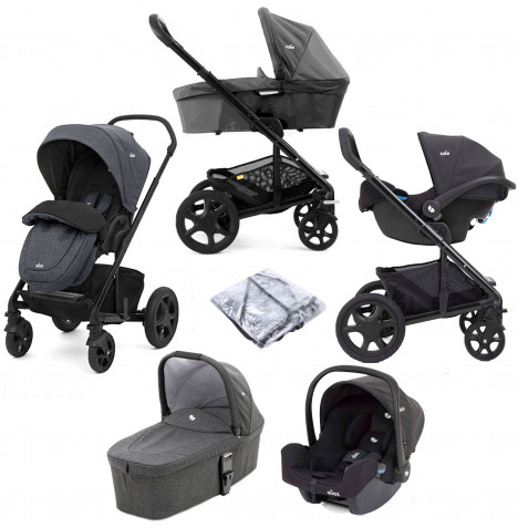 Joie Chrome DLX (i-Snug Car Seat) Travel System (inc Footmuff) With Carrycot - Pavement