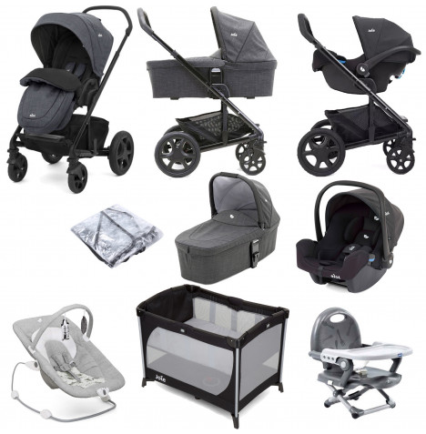 Joie Chrome DLX (I-Snug Car Seat) Everything You Need Travel System With Carrycot Bundle - Pavement / Coal
