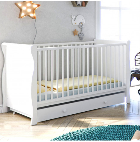 Little Acorns Sleigh Cot Bed With Drawer - White