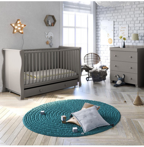 Little Acorns Sleigh 4 Piece Nursery Furniture Set - Cotbed & Drawer With Dresser - Light Grey