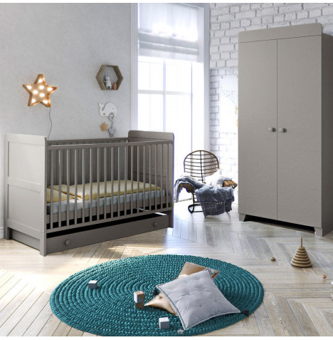 Little Acorns Classic Milano Cot Bed 4 Piece Nursery Furniture Set with Deluxe Foam Mattress - Light Grey