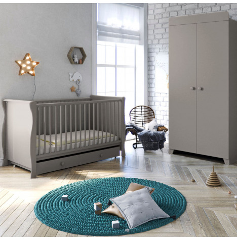 Little Acorns Sleigh Cot Bed 3 Piece Nursery Furniture Set with Deluxe 4inch Foam Mattress - Light Grey