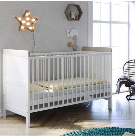 Little Acorns Classic Milano Cot Bed - White / Grey