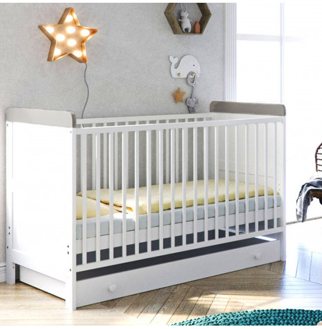 Little Acorns Classic Milano Cot Bed and Drawer with Deluxe Foam Mattress - White / Grey