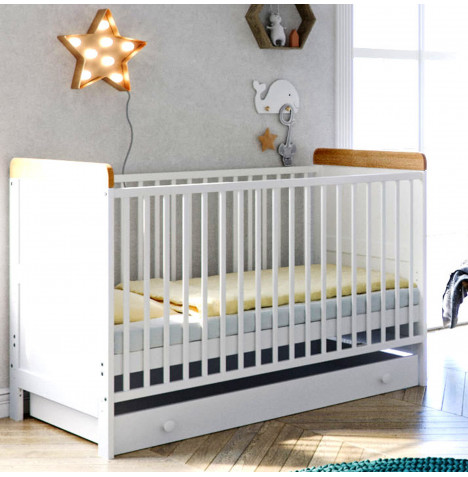 Little Acorns Classic Milano Cot Bed and Drawer with Deluxe Foam Mattress - White & Oak