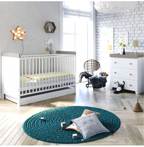 Little Acorns Classic Milano Cot Bed 4 Piece Nursery Furniture Set with Drawer - White / Grey