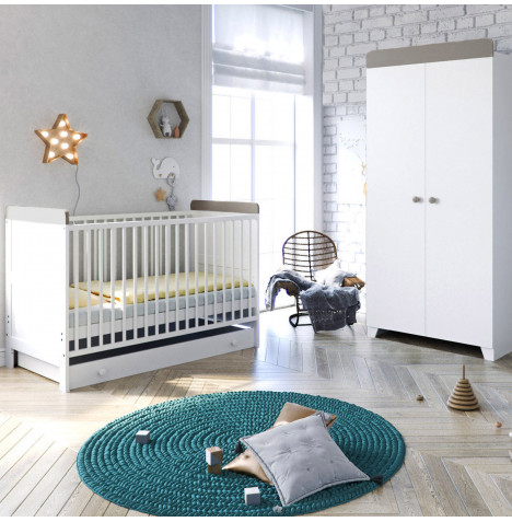 Little Acorns Classic Milano Cot Bed 4 Piece Nursery Furniture Set with Deluxe Foam Mattress - White / Grey