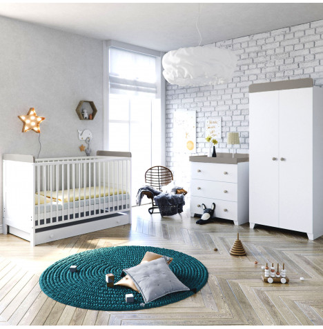 Little Acorns Classic Milano Cot Bed 4 Piece Nursery Furniture Set - White / Grey