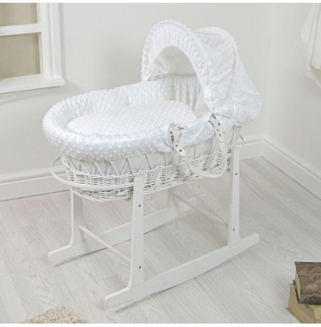 4Baby Padded White Wicker Moses Basket & Rocking Stand - White Dimple